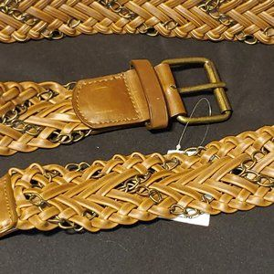 NEW Wet Seal Brown Braided Belt w/Chain Size M